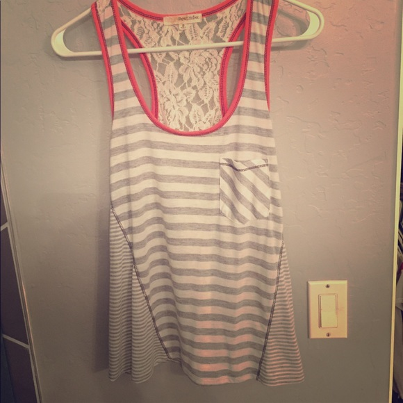 Rewind Tops - Stripes and lace tank